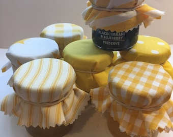 Yellow Wedding Favour Fabric Mini Jam Jar Lid Top Covers X 50 Jam Pot Covers Fabric Jar Covers Mini Jar Covers with twine