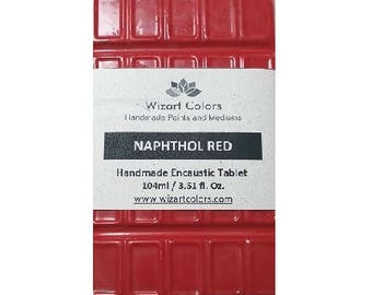 Encaustic Naphthol Red Tablet Wax Paint made of beeswax and best damar resin