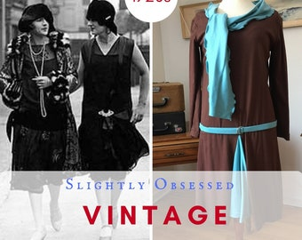 "Reproduction 1920s ""One Hour"" Day Dress & Matching Hat"