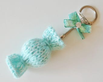 Turquoise candy-shaped Keyring - bag charm