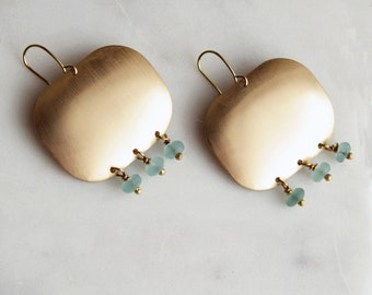 Aqua Chandelier Earrings, Aqua Sea Glass, Choose a Shape, Statement Earrings, Chandelier Earrings