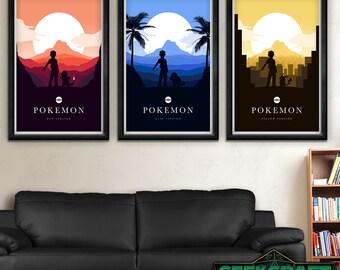 Pokemon, Pocket Monsters, Red, Blue, Yellow, Pikachu, Gameboy, Original, Color, Version, Pokemon Posters, Pokemon Art,Pokemon Game Print Set