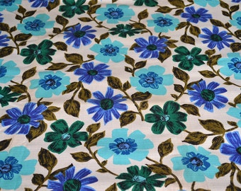 Vintage Fabric - Mod Turquoise Blue Flowers and Vines Print - 49 x 49 Woven Cotton Upholstery