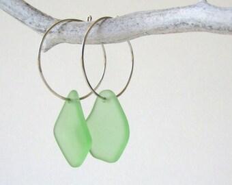 Green Sea Glass Earrings, Sterling Silver Hoop Earrings, Beach Glass Earrings, Sea Glass Jewelry, Sea Glass Sterling Silver Earrings