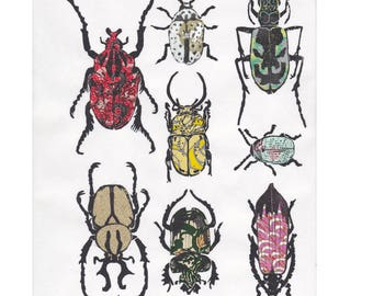 Other Beetles II - Hand-printed Linocut Print of a Collection of Beetles on Various Pattterned Japanese Washi Papers - Natural History