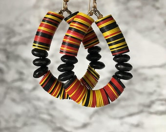African jewelry, African earrings, Tribal earrings, Tribal jewelry, Boho tribal jewelry, African beaded hoop earrings, Ethnic jewelry