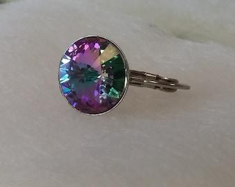 Swarovski Crystal Stainless Steel Rivoli Lever back earrings