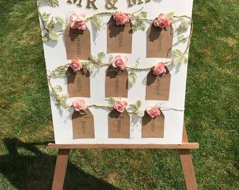 Wedding Table Plan, Floral Table Plan,  Rustic Rose, Rose Table Plan, Wedding Seating Plan, Rustic Wedding Plan