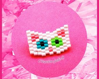 Brooch cat white Brick Stitch - pearls Hama Mini