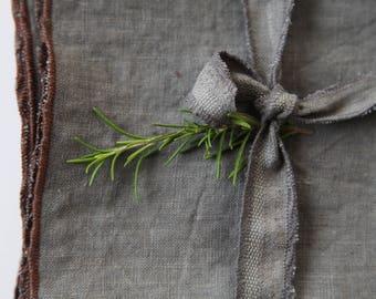 Grey Linen Napkins, 14 inch napkins, 100% linen, Dinner Napkins, Flax