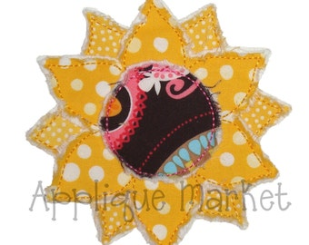 Machine Embroidery Design Applique Frayed Raggy Sunflower 6 Sizes INSTANT DOWNLOAD