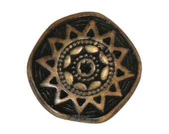 3 Sun Star 3/4 inch ( 20 mm ) Metal Buttons Antique Brass Color