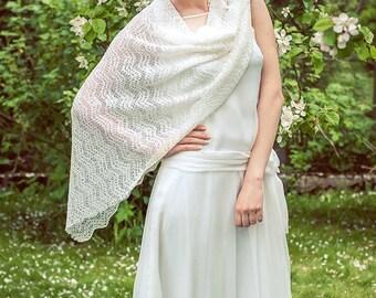 Bridal Lace Shawl White Wedding Stole Bridal Boho Wrap Linen Shawl Knit Light Scarf Bridal Cover Up Summer Wedding Shawl Lace Shawl