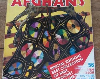 vintage 70s knit crochet patterns McCAlls super-book of AFGHANS volume 1  -  56 designs