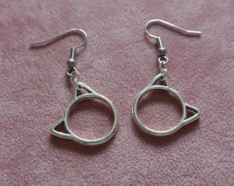 Silver Cat Earrings, Kitty Earrings, Cat Dangle Earrings, Hypoallergenic Ear Wires, Cat Lovers Gift