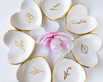 Bridesmaids Gifts or Party Favors - Personalized White and Gold Ring Dish - Ceramic Ring Dish, Heart Ring Dish by Modern Mud