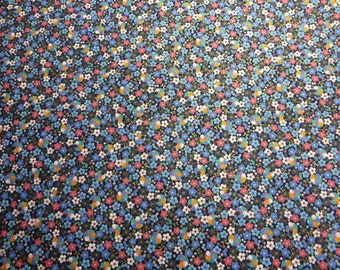 Japanese Cotton Fabric - Blue and Pink Floral with Gold Accents