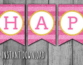 GLITTER Happy Birthday PRINTABLE BANNER - Hot Pink Stripes and Gold Glitter Banner, Chevron Bunting, Instant Download, Ready to Print (bb3)