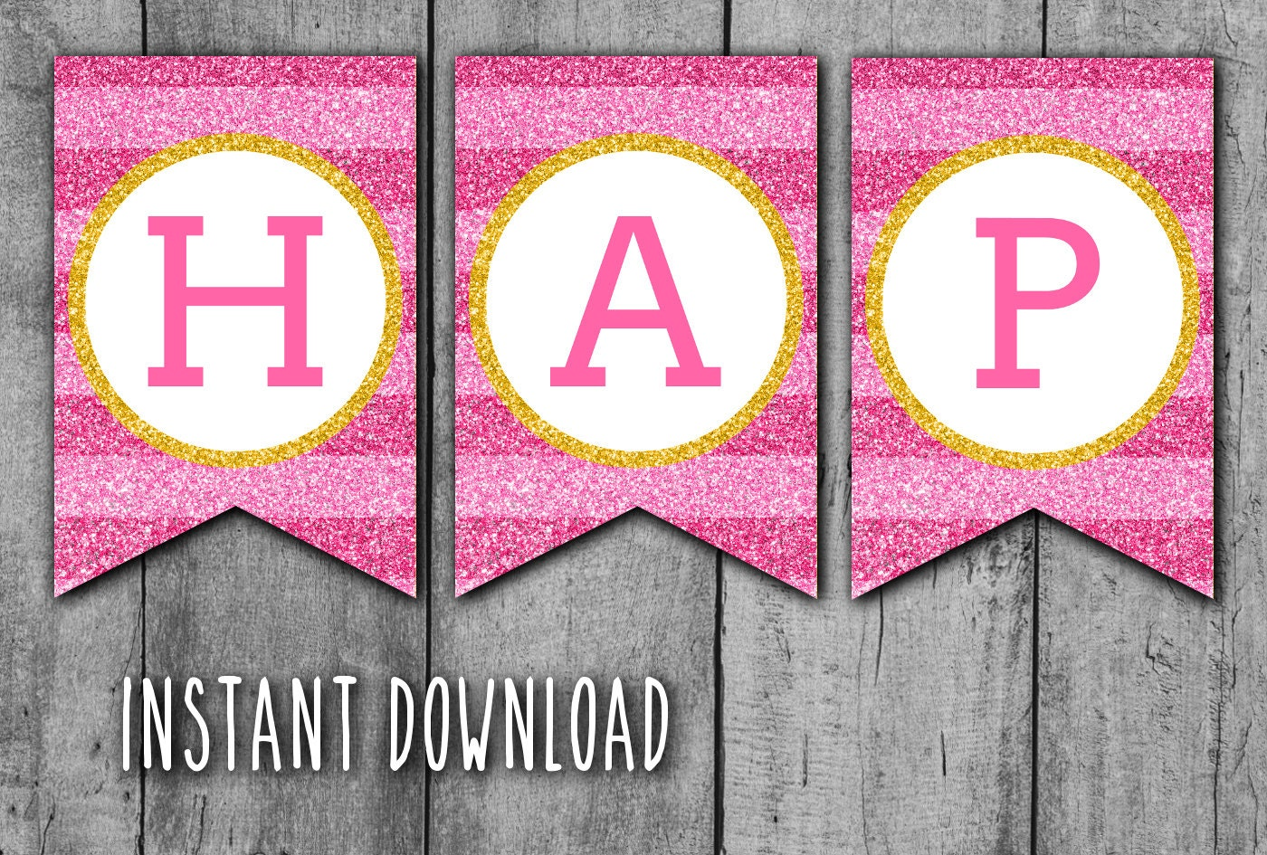 Printable Birthday Banner ~ Glitter happy birthday printable banner hot pink stripes and