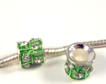 3 Beads - Green Rhinestone Enamel Barrel Silver European Bead Charm E0836