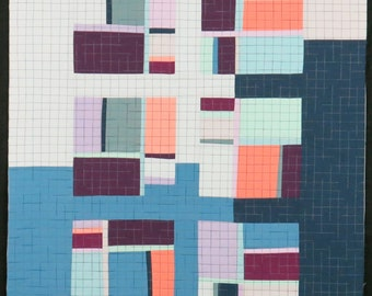 """Art Quilt, Quilt Art, Wallhanging. Motif #26. 29""""H x 22""""W. Pieced and quilted in 100% cotton, hanging sleeve."""