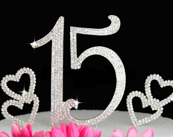 15th Birthday Cake Toppers Bling Quinceanera Cake Topper with Hearts Cake Picks