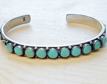 Vintage sterling silver and blue turquoise cuff bracelet - native american jewelry - natural turquoise -  vintage jewelry - boho chic