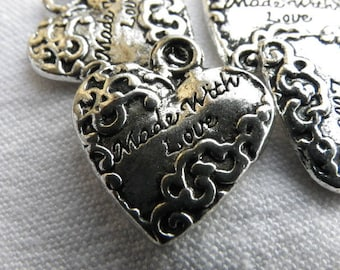 5 hearts love charms silver 18 mm x 20 mm silver metal