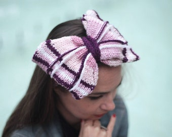 Big Knitted Hair Bow on Headband, Head Band by Solandia, purple violet Hair Accessories Women, Christmas Knitted Gift