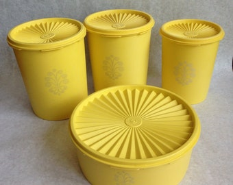 Vintage yellow Tupperware canisters