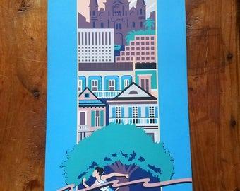 Philip Bascle Crescent City Classic 1986 Poster, Louisiana Art, New Orleans Art, Original Art, Philip Bascle Artist, New Orleans Posters