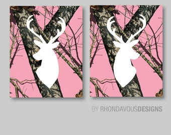 Baby Girl Nursery Art Prints - Deer Nursery Art - Camo Nursery Art - Camouflage Deer Art - Girl Bedroom Art - Deer Bedroom Art  (NS-520)