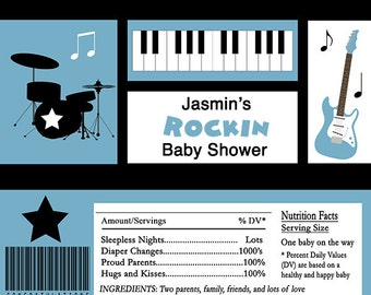 Rockin Baby Shower Candy Bar Wrappers INSTANT DOWNLOAD Editable