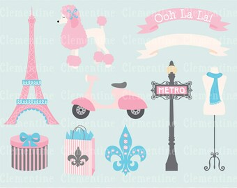 Paris clip art images, Eiffel tower clip art, royalty free clip art- Instant Download
