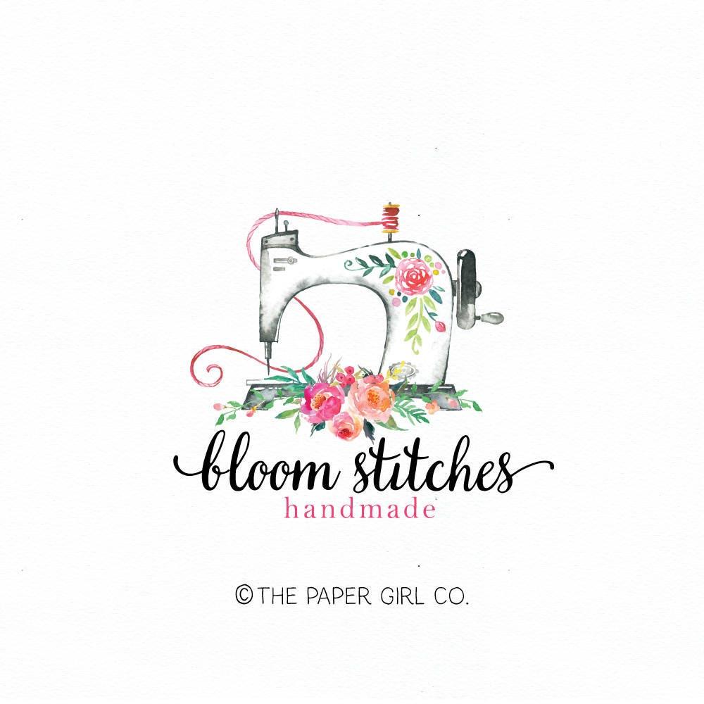 sewing machine logo sewing logo seamstress logo premade logo