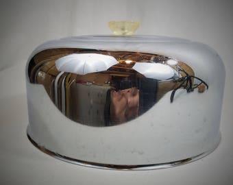 Vtg Round Chrome Cake Saver Top  Clear Plastic Knob NO BOTTOM Made in USA