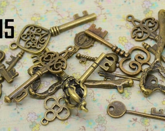 15 key charms, assorted mix metal bronze