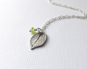 Silver Leaf Necklace Tree Pendant, Peridot Necklace Birthstone Nature Jewelry womens gift. gardening gift Mothers Day Gift for Mom Wife gift