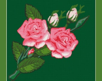 Pink Roses Counted Cross Stitch Pattern in PDF for Instant Download