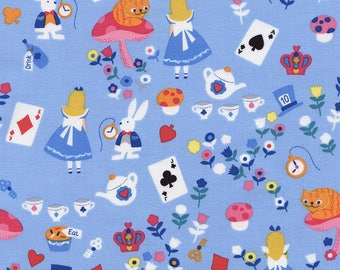 Alice in Wonderland Blue Timeless Treasures Fabric