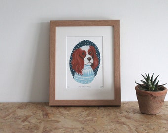 King Charles Spaniel mounted fine art print