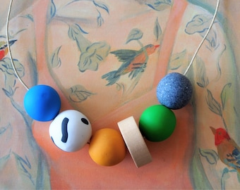 Handmade Polymer Clay Necklace - Estonia Collection - Six Bead Donut Woody