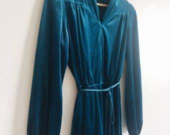 Vintage 70s Velvet Turquoise Dress