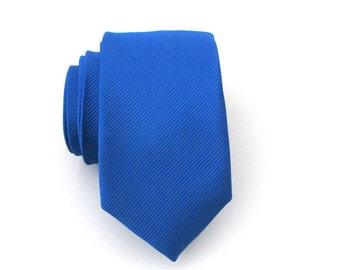 Skinny Tie. Blue Tie. Men's Ties - Royal Blue Tonal Striped Skinny Tie