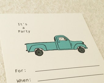 Birthday Party Invitations-Green car Truck Invitation-Over the hill invitations-Set of 10