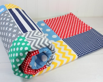 Baby Quilt, Nursery Decor, Baby Blanket, Minky Baby Blanket, Baby Shower Gift, Red, Navy, Blue, Green, Yellow, Gray, Grey, Baby Boy