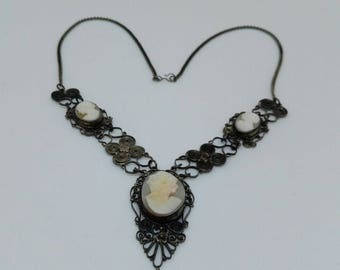 Fabulous Edwardian Filigree and Triple Shell Cameo Necklace Very Downton Abbey  Mourning Jewellery Steampunk