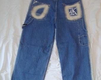 KARL KANI jeans, vintage baggy Kani jeans loose blue 90s hip-hop clothing, oldschool 1990s hip hop, OG, gangsta rap, size 32