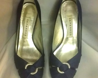 closing Womens formal evening pumps navy satin pumps peep toe pumps womens shoes Size 8