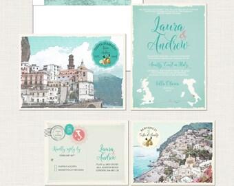 Destination wedding invitation Amalfi Coast Positano Atrani Sorrento Italy Wedding Invitation Suite - European wedding - Deposit Payment